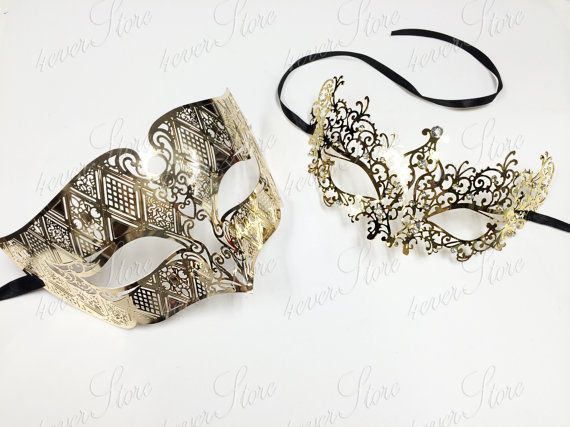 Charis Mask/ Option for Leo  Gold Couple's Masquerade Mask Set  His & Hers Mask by 4everstore