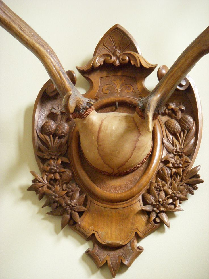"""Antlers  (Stag, with Swiss carved plack,  signed 1887.)  """"Black Forest"""" From Alpenholz Antiques"""