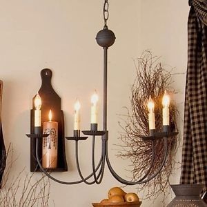 Large 5 Arm Chandelier In Textured Black Primitive Country Colonial Lighting  | EBay