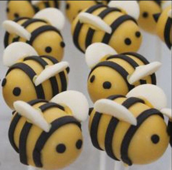 Bubble bee cake pops by Chevonscouturesweets on Etsy
