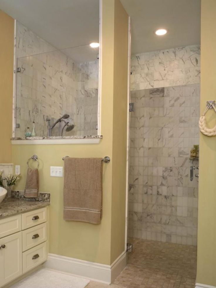 Bathroom , Ideas Of Doorless Walk In Shower For Small Space Bathroom :  Perfect Door Less