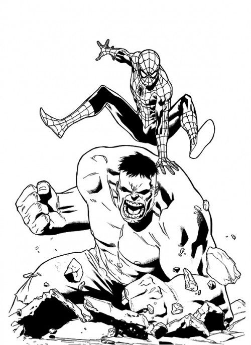hulk and spiderman coloring pages  spiderman coloring