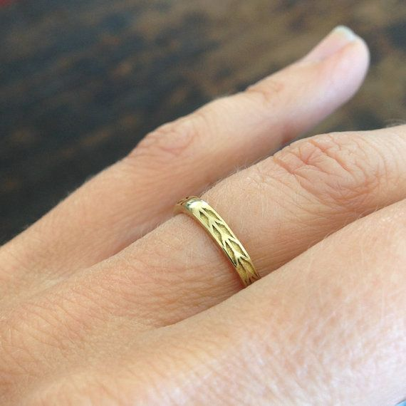 2mm Wedding Band Gold Chevron Ring Gold Arrow by MeanderWorks