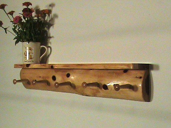 Rustic Log Coat Rack Top Shelf Wall Mounted By Ozark