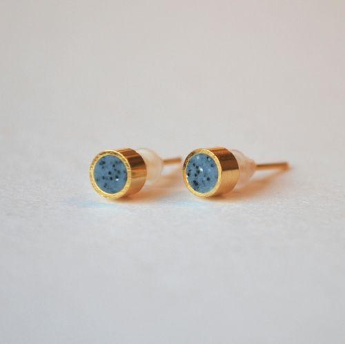 Örhänge Punkt granit/guld