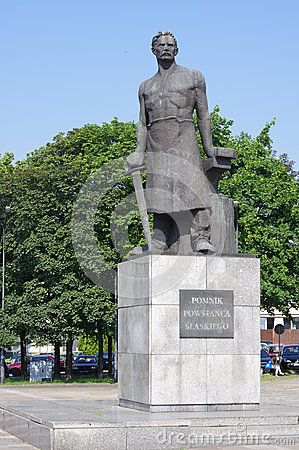 The Monument of the Silesian Insurgent in Chorzow in Upper Silesia. The monument was unveiled 09.01.1971 at the 50th anniversary of the third Silesian Uprising. The sculpture depicts Julius Ligonia insurgent. The authors of the sculptures are Henry Goraj and Tadeusz Ślimakowski.
