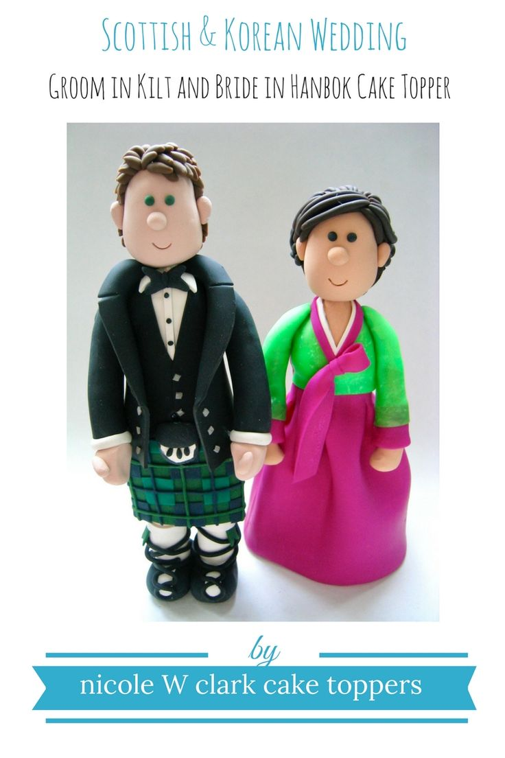Scottish Wedding meets Korean Wedding.  Groom in kilt and bride in hanbok custom wedding cake toppers.  Have the bride and groom's outfits recreated for the wedding cake.  Made to order cake toppers by Nicole W Clark.  Bride and groom wedding cake toppers perfect for the wedding day at www.nicolewclark.com .  Just drop me an email at nicolewclark@gmail.com to get the discussion started:)  #koreanwedding #scottishwedding #weddingkilt
