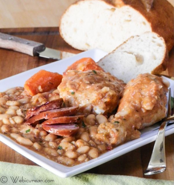 Fabulous French Cassoulet #SundaySupper | Webicurean -- Cassoulet is a rich one-pot meal, made of beans, chicken, vegetables, and sausage slowly simmered with broth and herbs.