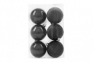 Plastic kerstballen zwart 7cm