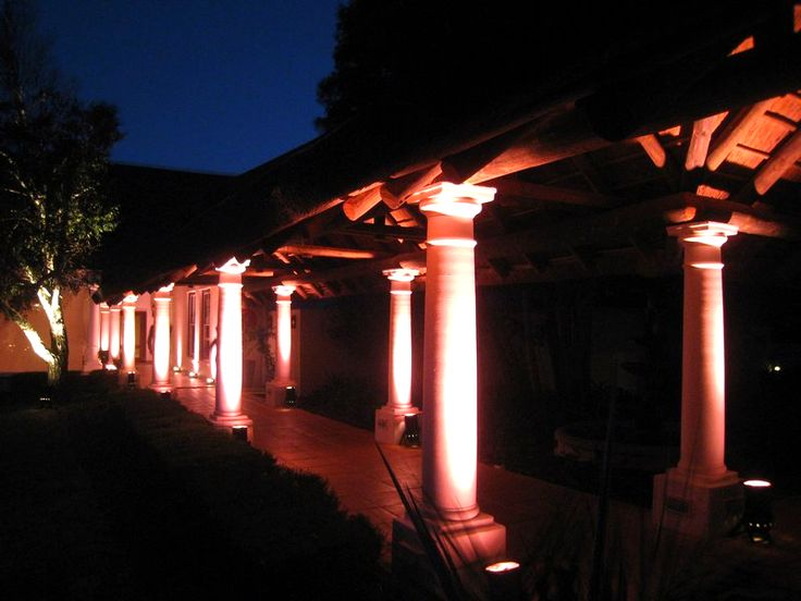 terrific exterior uplighting. Highlighting pillars with  uplighting Perfect touch to a reception entrance 54 best Outdoor Uplighting images on Pinterest Wedding lighting