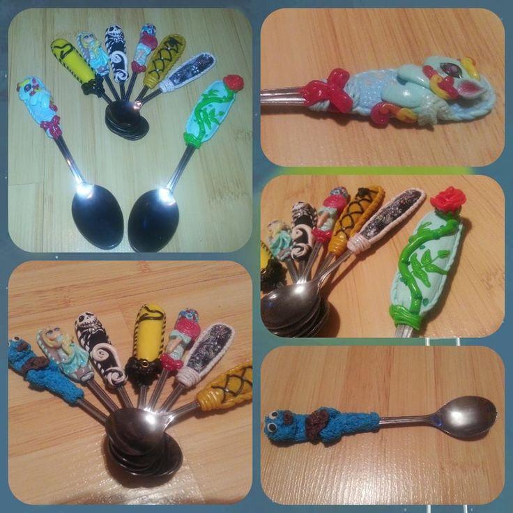 #happycherry #handmade #polymer clay #spoon #nightmare before cristmas #sezame street #my little pony #bloc-b #kpop
