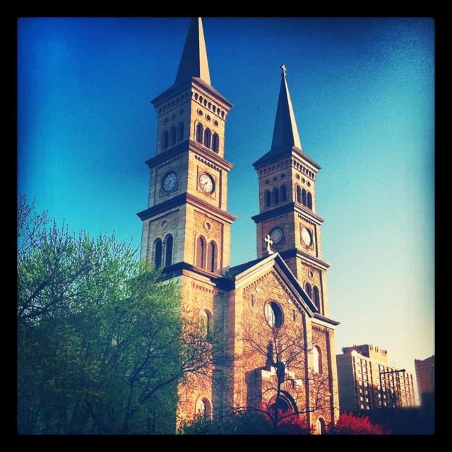 Morning sun on Assumption Catholic Church in St Paul, MN.