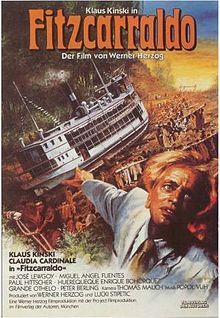 Fitzcarraldo. (Germany, 1982). Directed by Werner Herzog. Starring Klaus Kinski as the title character. It portrays would-be rubber baron Brian Sweeney Fitzgerald, an Irishman known as Fitzcarraldo in Peru, who has to pull a steamship over a steep hill in order to access a rich rubber territory.