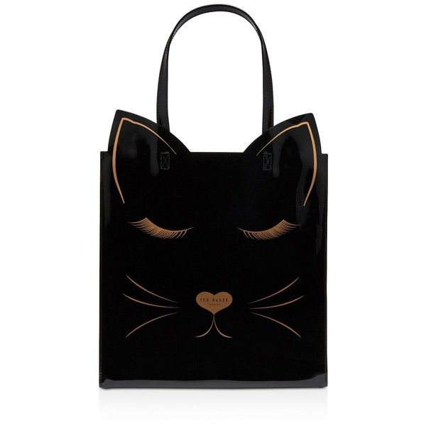 Ted Baker Catcon Linear Cat Print Large Icon Tote ($59) ❤ liked on Polyvore featuring bags, handbags, tote bags, man bag, ted baker tote bag, purse tote bag, handbag purse and ted baker handbags