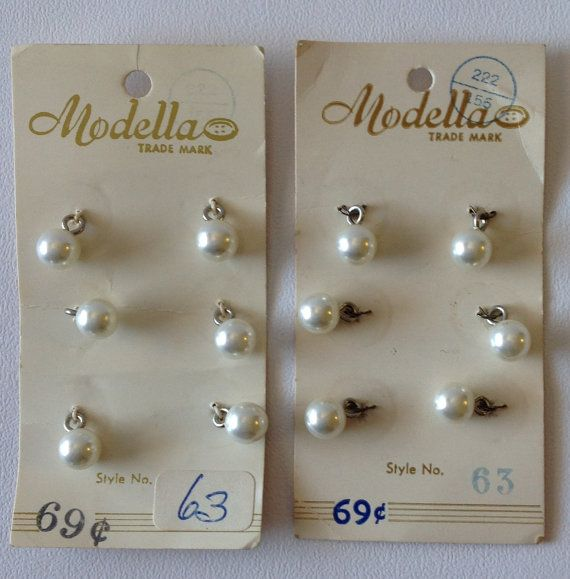 "2 Sets of Modella Pearl Vintage Button Sets,  1/4"" each, total of 12 buttons  $7.75"