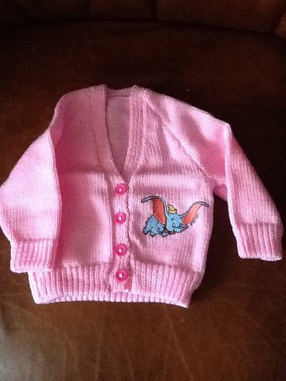 Pink hand knitted baby cardigan with Dumbo by Happilyevercrafts, £12.00
