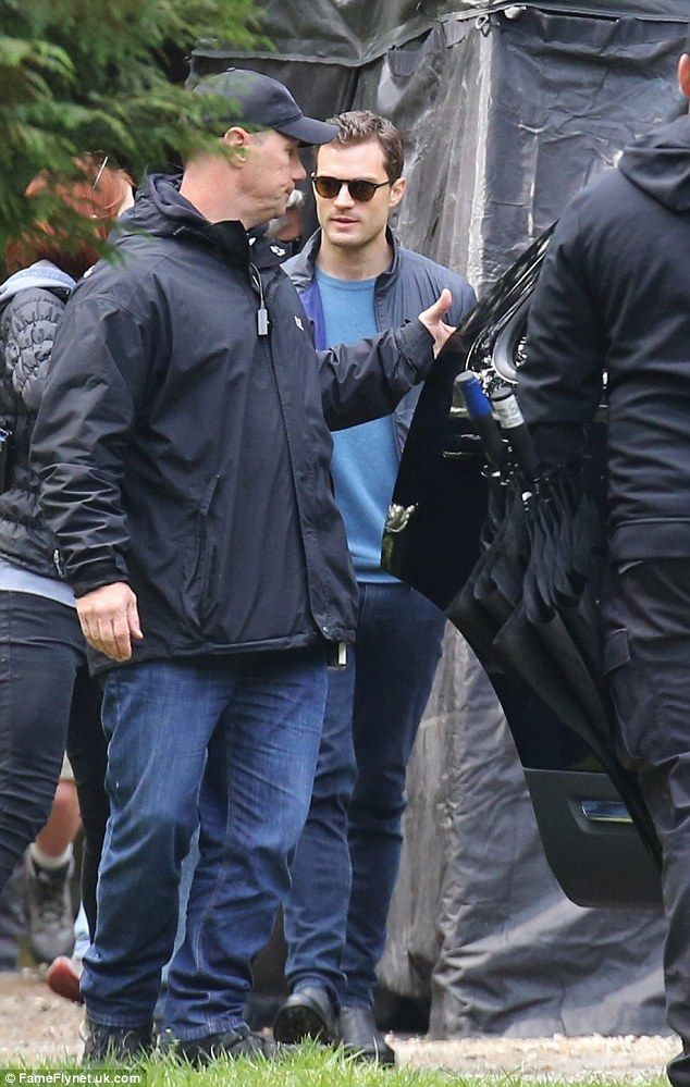 No shades of grey here:Jamie, 33, who plays Christian Grey, was dressed casually in a nav...