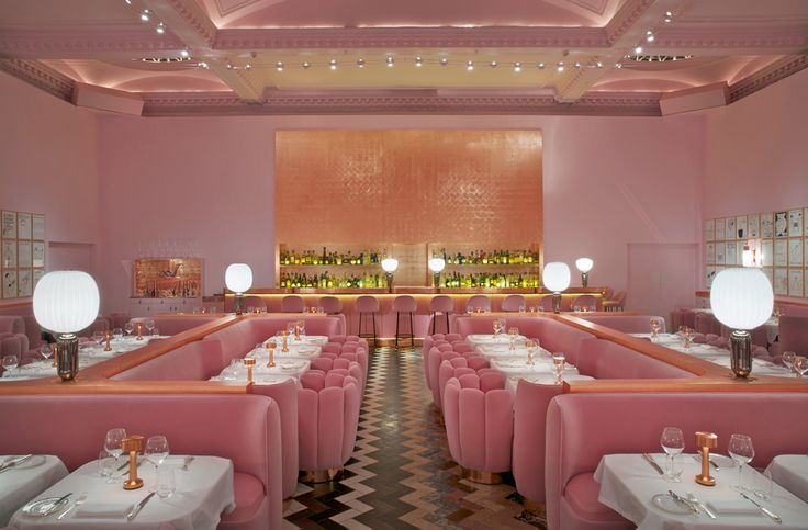 The Gallery at Sketch by India Mahdavi - love the pink ceiling! More on Interiorator.com