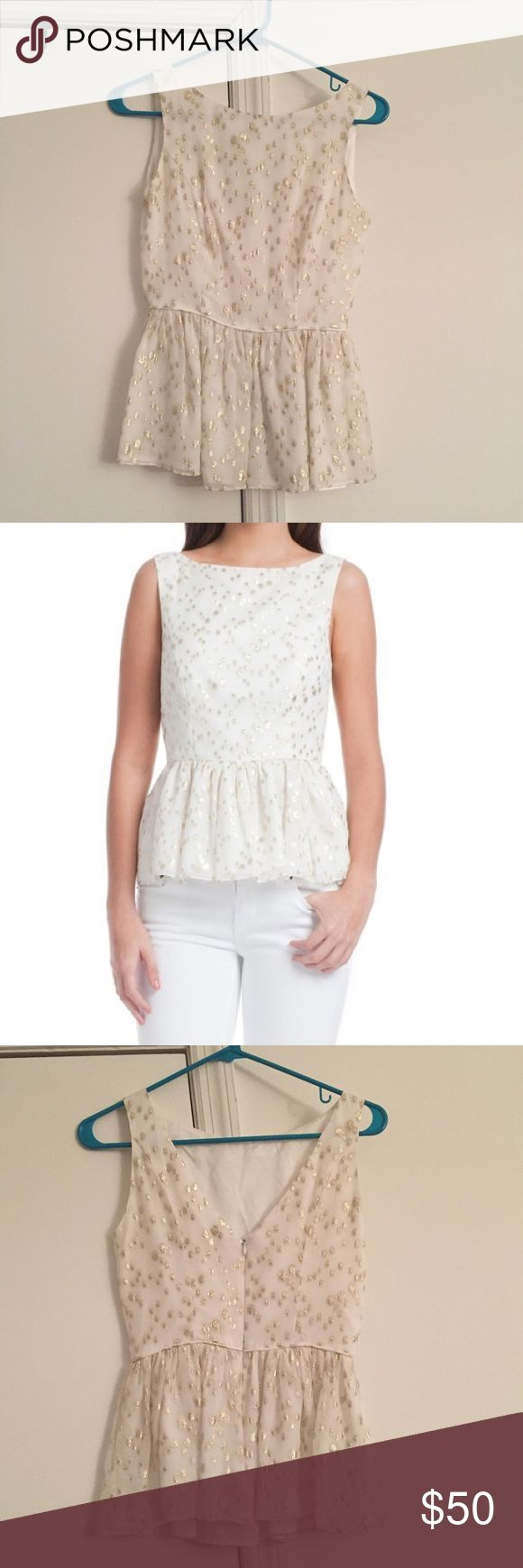 Shosanna peplum top White peplum tank/top from Shosanna. Has gold girl details on the top. Size: 0. Barely worn, in good condition Shoshanna Tops