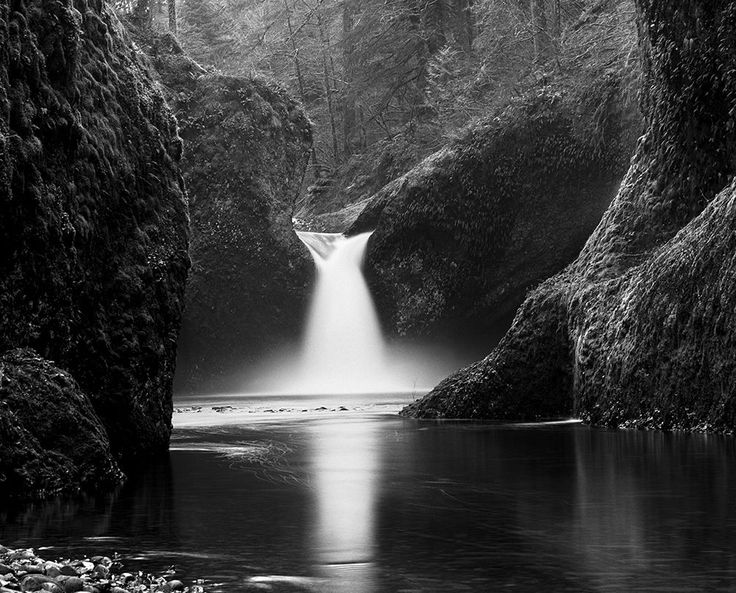 Punch Bowl Falls, Oregon   From a unique collection of black and white photography at https://www.1stdibs.com/art/photography/black-white-photography/