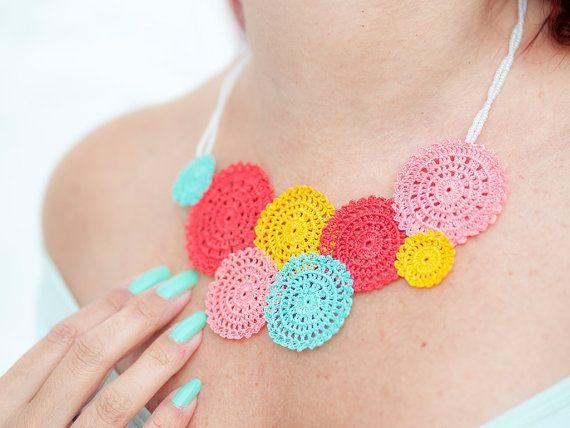 Crochet Lace Statement Necklace - Yellow Mint Red Peach - Collar Necklace - Fiber Art Jewelry - Ottoman Tile Motif