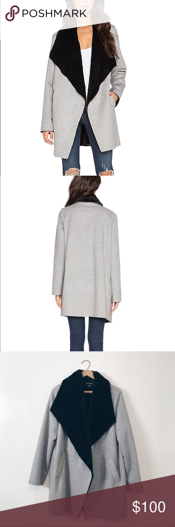 Fifteen Twenty Faux Fur Lined Drape Coat So beautiful and cozy! Made in USA. A dramatically draped collar reveals the luxuriously soft faux fur lining of a tweed patterned coat. Only worn a couple times. Fifteen Twenty Jackets & Coats