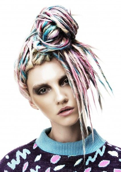 Beautiful pastel colour dreadlocks by Claire Hicks