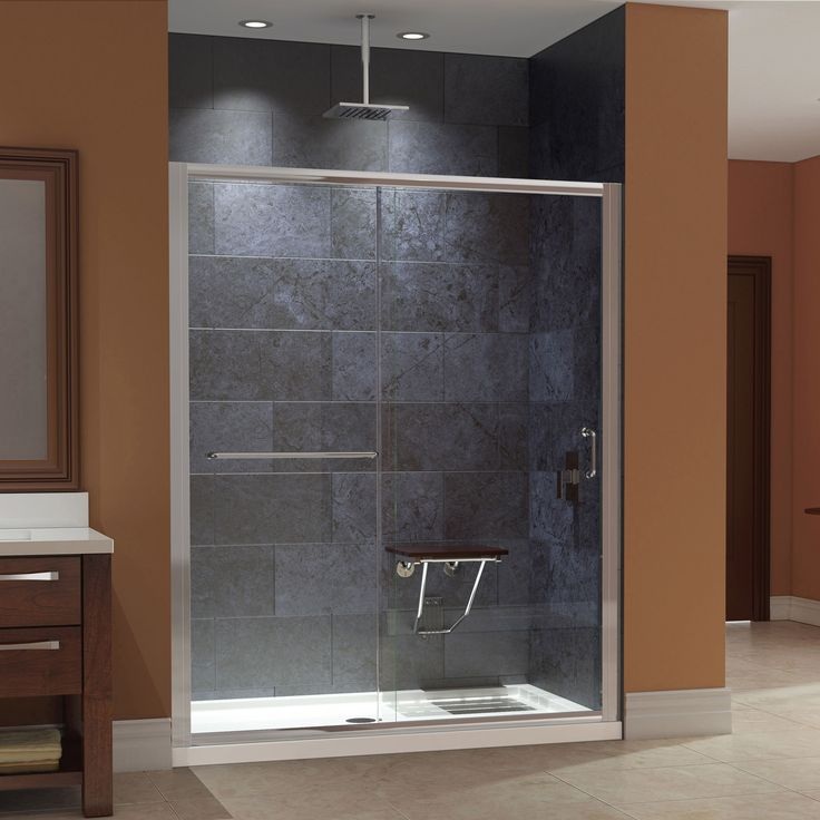 complete your bathroom renovation with a dreamline infinityz shower door base and teak - Dreamline Shower