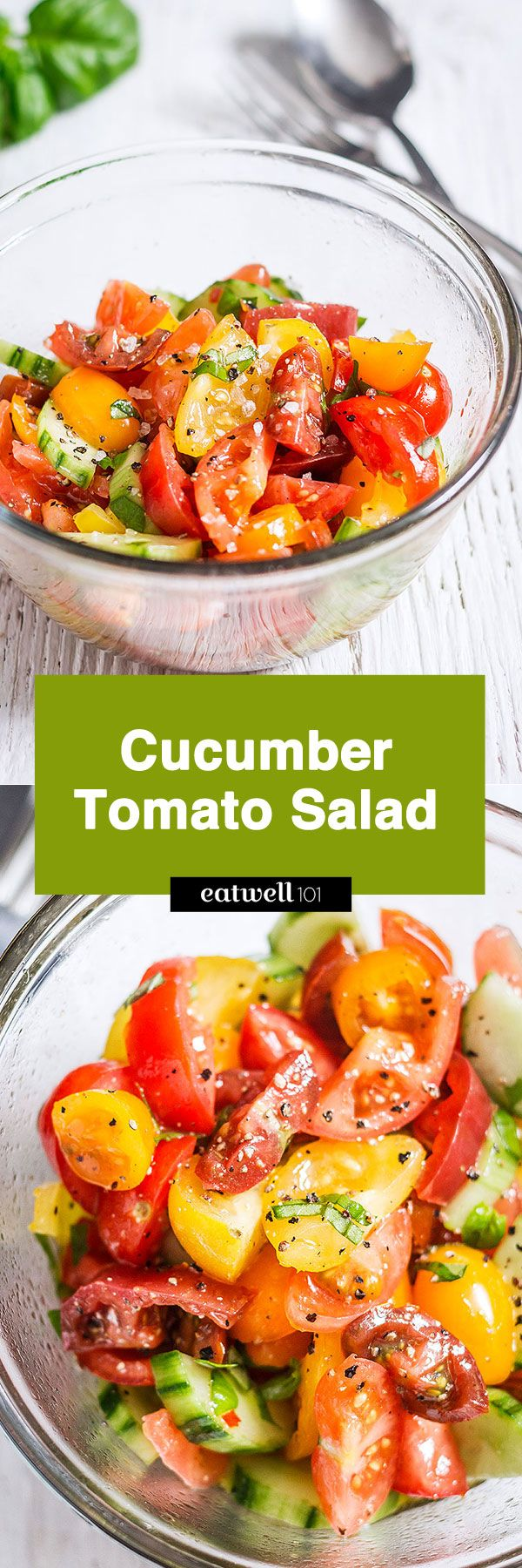 Cucumber salad - With Fresh cucumbers, juicy tomatoes, and basil are drizzled with a balsamic and oil dressin…