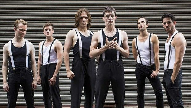Punch in the face: The all-male cast of A Clockwork Orange, which opens at the Malthouse Theatre on Saturday.