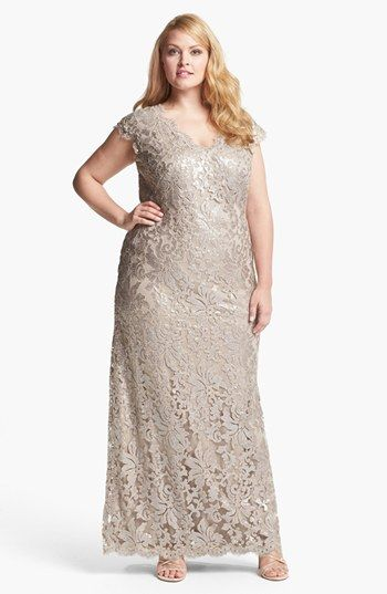 Tadashi Shoji V-Neck Lace Gown (Plus) available at #Nordstrom