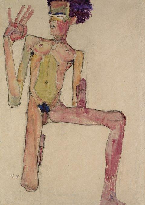 Egon Schiele, Kneeling Nude with Raised Hands (Self-Portrait