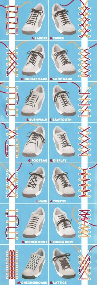 Different ways to tie shoelaces