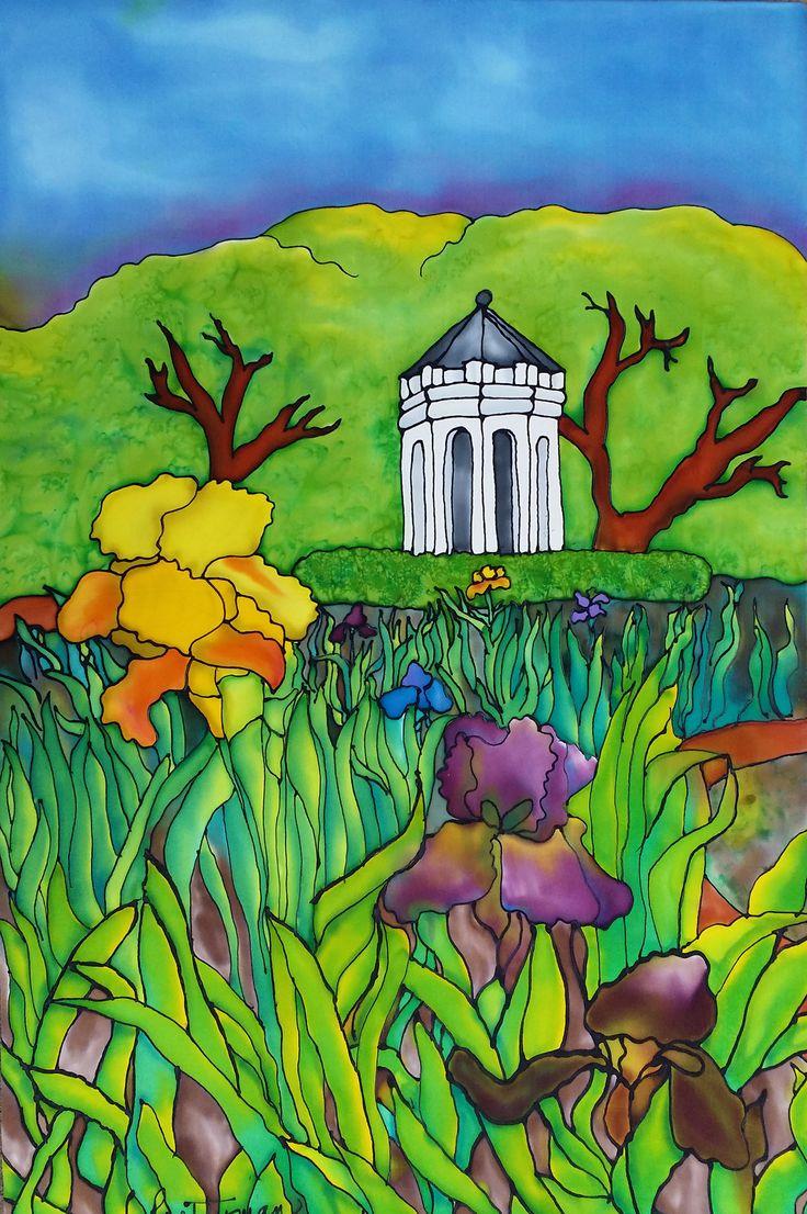 """Field of Irises"", Painting on Charmeuse Silk, Framed 22""x32"""