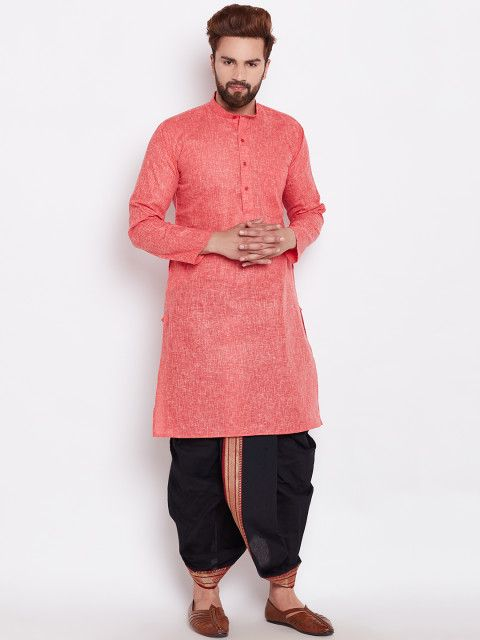 Red & Black Cotton Solid Kurta with Dhoti Pants  #KurtaSet #Red #Black #Cotton #Solid #Wedding #Festive