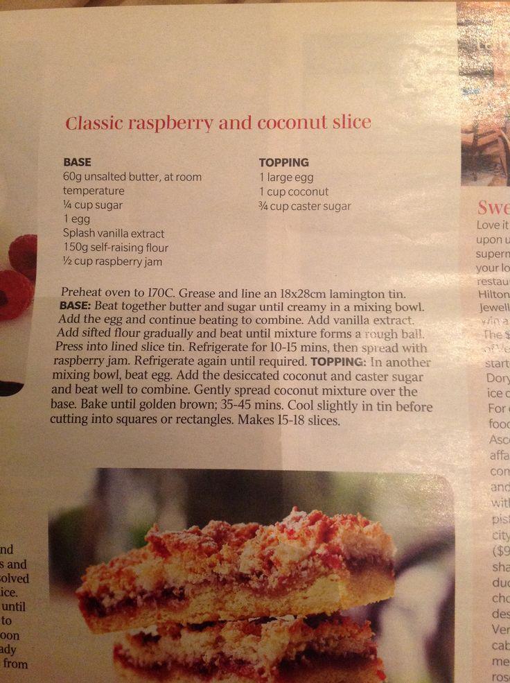 Raspberry and coconut slice
