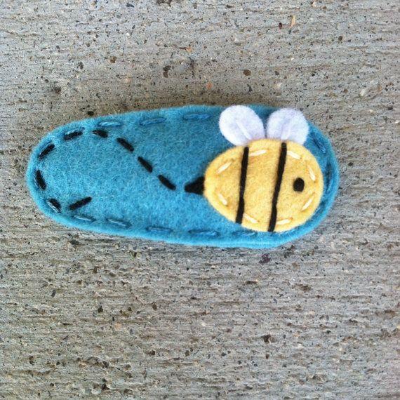 Bumblebee Teal  Wool Felt Hair Clip
