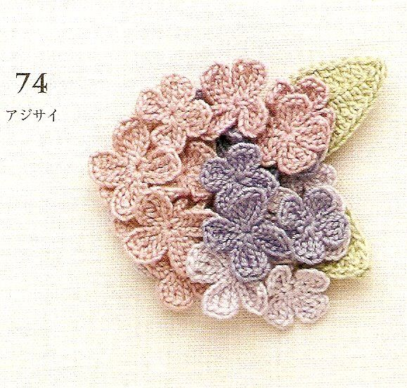 Japanese Crochet, Flower ~ with chart and diagram ~ (Hoa tú cầu) and other flowers