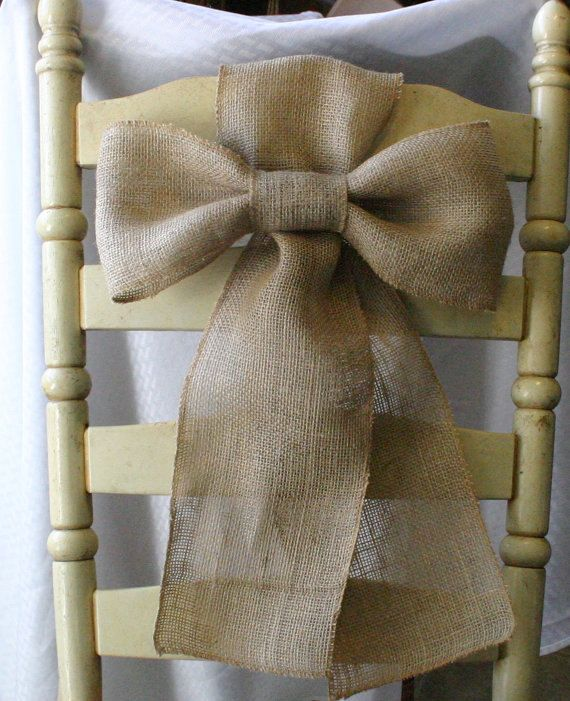 Bride and Groom chair bows, Mr and Mrs Burlap pew bows, shabby chic, country chic, rustic chic, French country, cottage chic wedding,