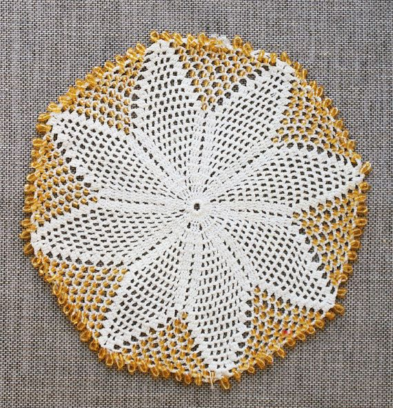 Vintage Crochet Doily with yellow glass beadwork hand crocheted lace available from Mrs Baths Drawers