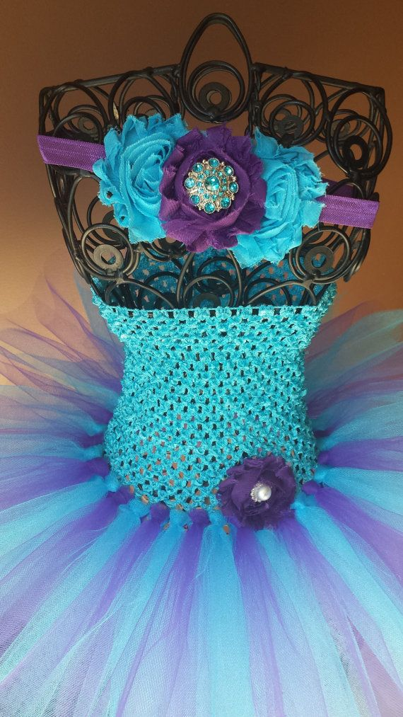 Turquoise and Purple Tutu Dress and headhand by BottomsNBows