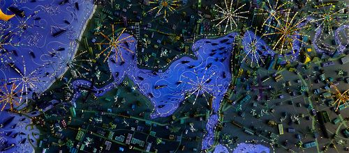 "Sara Drake - ""Fireworks over Perth"" 3D Map of the Swan River,from Fremantle to Perth on Australia Day. Mixed media - including balsa wood, beads and wire."