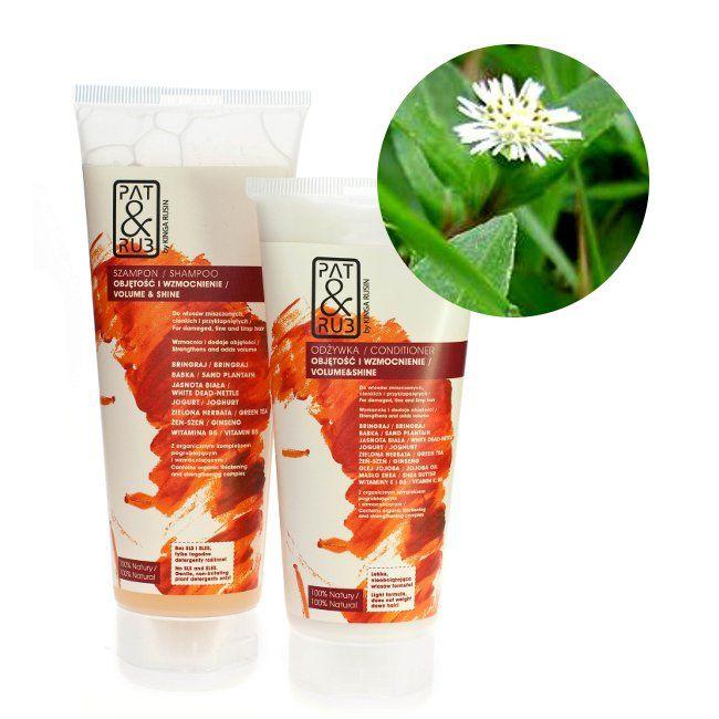 Kosmetyki naturalne  do włosów cienkich, słabych i przyklapniętych: szampon i odżywka z z bringrajem, który wzmacnia włosy, wspomaga rośnięcie, regeneruje