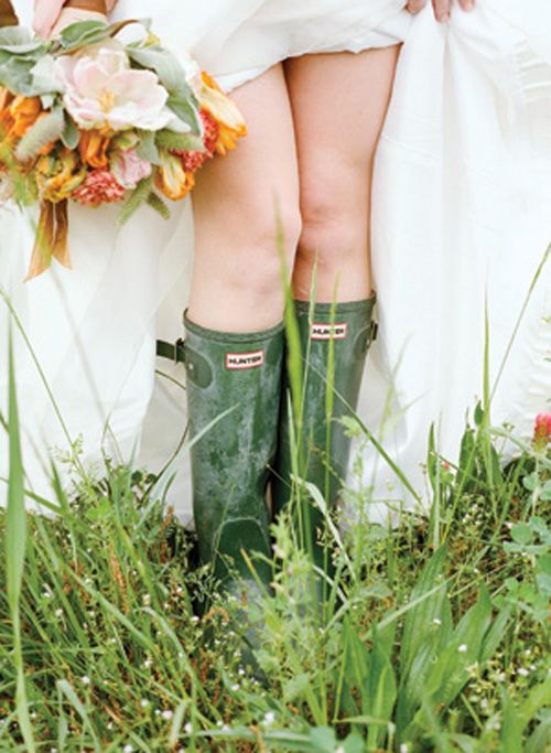 Hunter wellies for a countryside chic feel on your wedding day