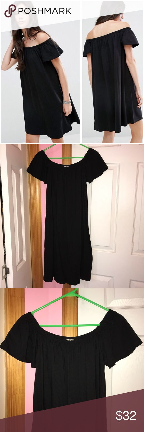 ✨1 HR SALE✨ ASOS Tall Off the Shoulder Dress ✨Sale price is firm.✨ Only tried on and has been washed. This is ASOS tall. Color is black. Has a stretch bardot neckline. 100% cotton. Fits true to size though is a relaxed fit. Stock photos from ASOS. ❌NO TRADES❌ ASOS Dresses