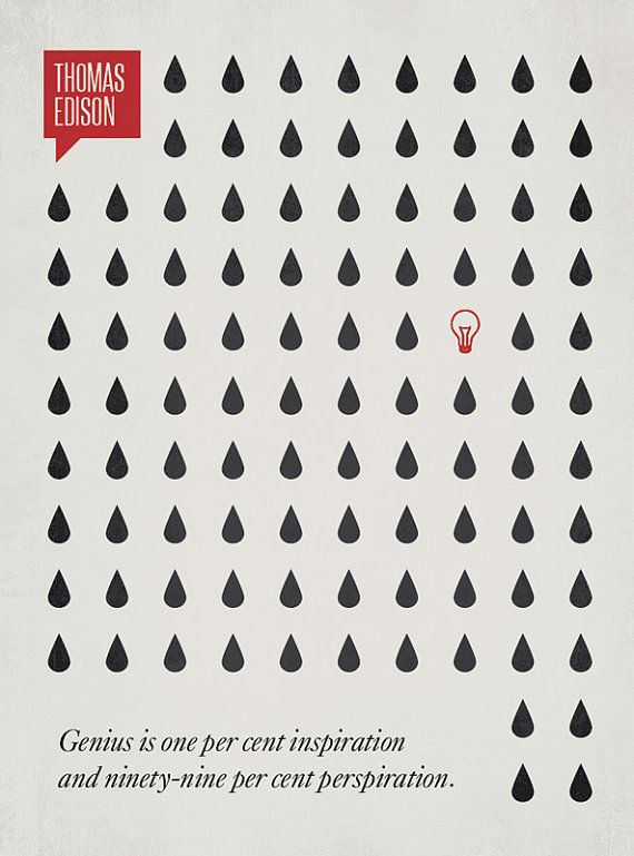 genius takes sweat - one of a series illustrated quotations by Ryan McArthur