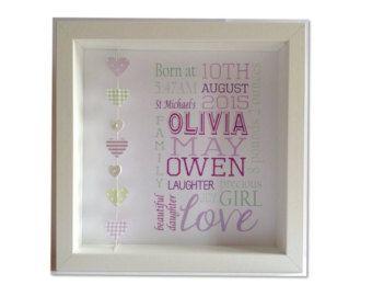 Mooie 3-dimensionale illustraties met acht prachtige, dubbele laag harten, afgewerkt met een verhoogde gepersonaliseerde plaque die kan zijn voorzien van naam / datum-van-geboorte / speciale bericht. Aanpassen in uw gekozen kleurencombinatie te coördineren met een kwekerij / de slaapkamer kind. Kleuren zijn roze, lila, paars, pale blue, royal blauw, groen, geel, rood of beige / crème. Papers zijn een mix van florals polka-dot, ginghams, strepen en patronen, afhankelijk va...
