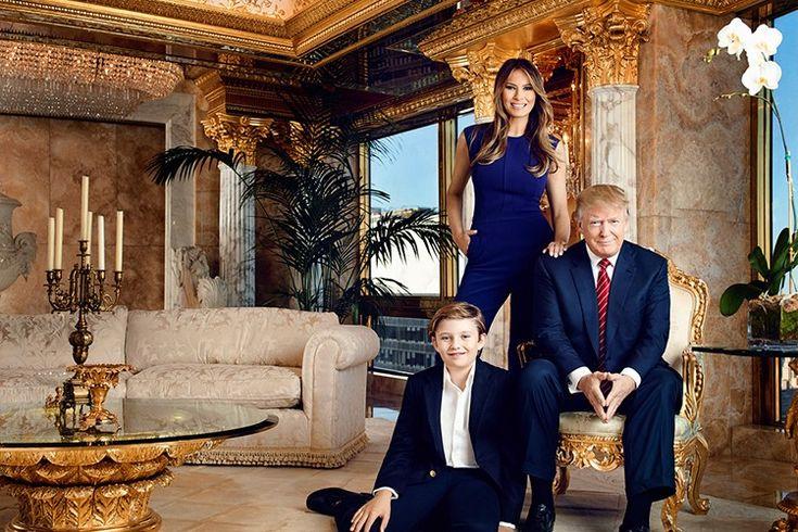 Flipboard | Conheça a casa de Donald Trump, o novo presidente dos EUA > Donald Trump, a esposa Melania e o filho mais novo, Barron  Donald Trump (Foto: Reprodução)
