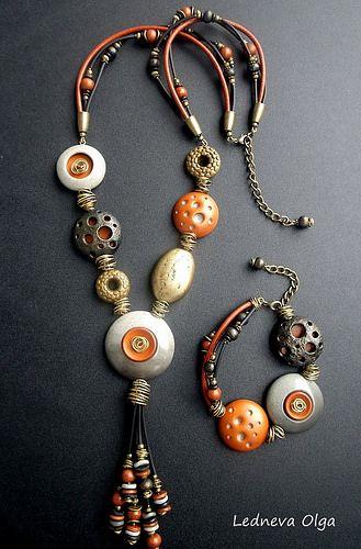 Jewellery by Olga Ledneva. Made from polymer clay. Комплект Гранд каньон