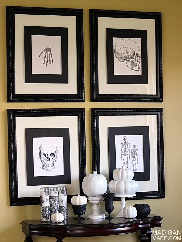Black and white vintage Halloween gallery wall -- decor and frames @Shannon Bellanca Bellanca Madigan (Madigan Made)